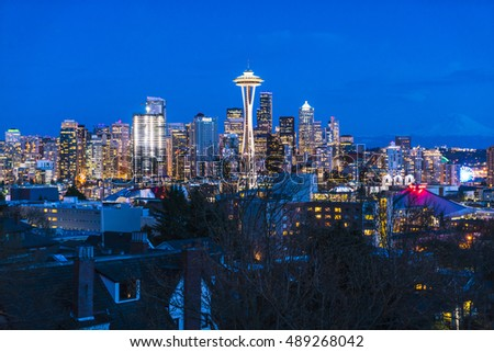scenic view Seattle cityscape in the sunset time,Washington,USA. -shoot in  03/18/16 -editorial use only.