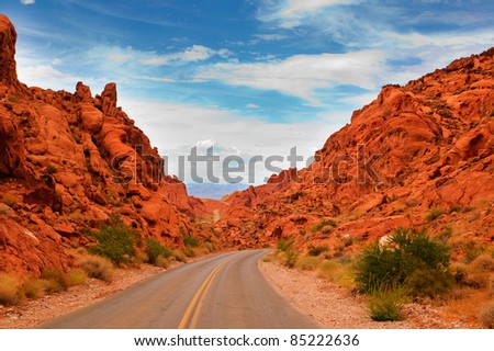 """Scenic views along the road through the State park """"Valley of Fire"""" in Nevada - stock photo"""