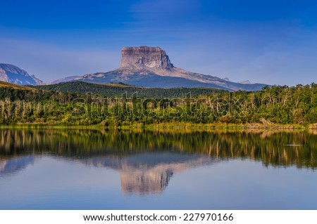Scenic views of Old Chief Mountain, from Police Outpost Lake Provincial Park Alberta, Canada - stock photo
