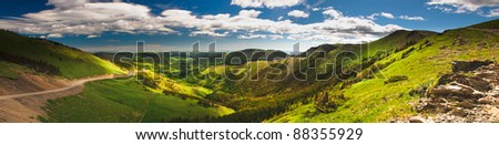 Scenic views of the Alberta Foothills and prairies. - stock photo