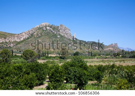 scenic views of the mountains - stock photo