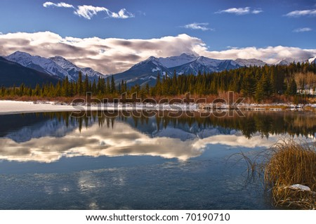 Scenic views of Vermilion Lakes Banff National Park Alberta Canada in Winter