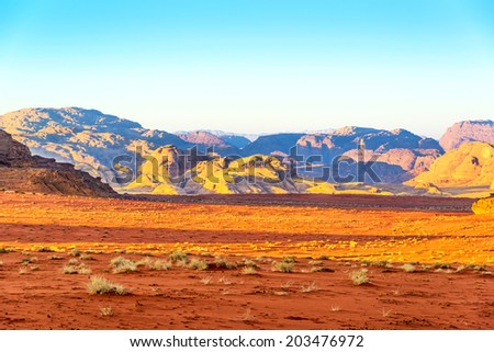 Scenic Wadi Rum in Jordan on January 1, 2014 at early-morning.  - stock photo