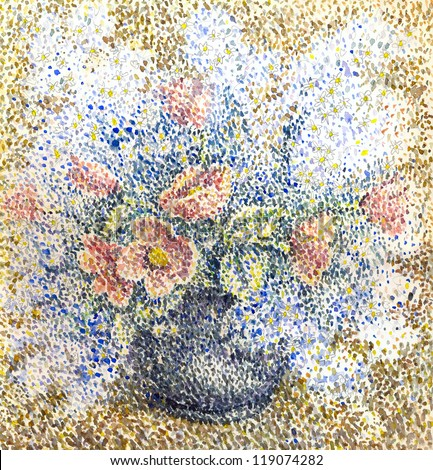Scenic watercolor still life in the style of pointillism. Fragrant bouquet of fresh flowers in a round vase - stock photo