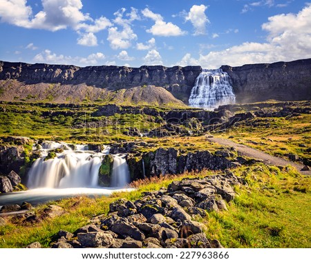 Scenic waterfall Dynjandifoss in Westfjords, Iceland - stock photo