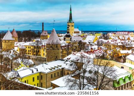 Scenic winter aerial view of the Old Town architecture in Tallinn, Estonia - stock photo
