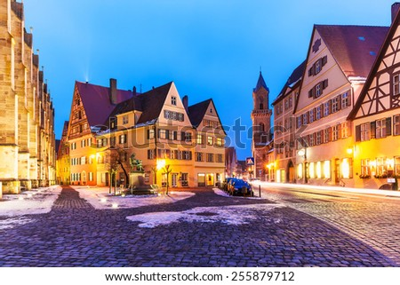 Scenic winter evening view of the Old Town ancient medieval architecture of Dinkelsbuhl, Bavaria, Germany - stock photo