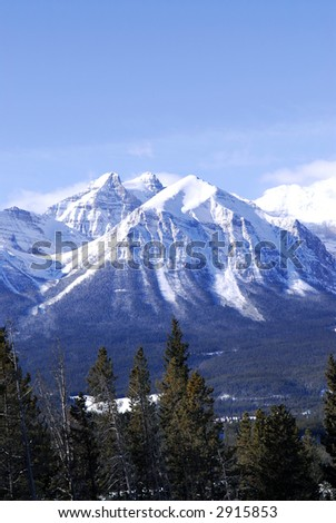 Scenic winter mountain landscape in Canadian Rockies - stock photo