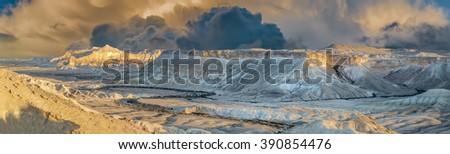 Scenic winter panorama of Ein Avdat National Park in the biggest Israeli desert of the Negev - stock photo