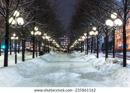 Scenic winter view of Christmas and New Year decorated street in the Old Town of Stockholm, Sweden - stock photo