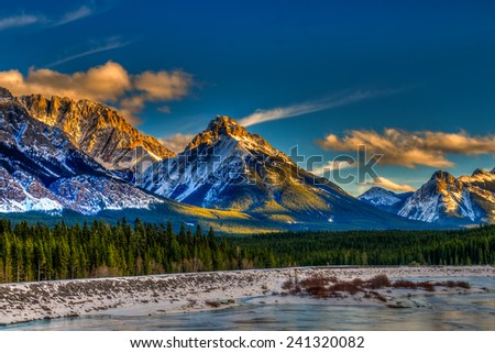 Scenic winter views of the Rocky Mountains, Peter Lougheed Provincial Park, Kananaskis Country Alberta Canada