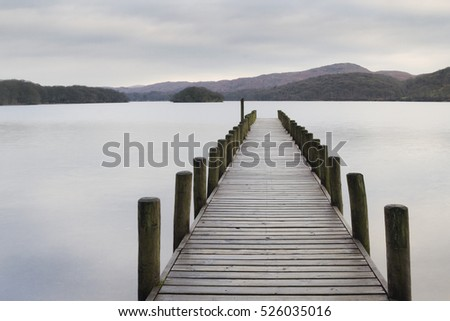 Scenic Wooden jetty on a lake in the lake district