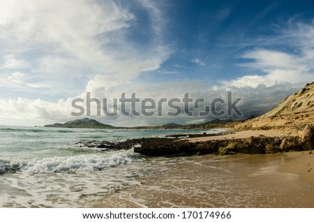 Scenics from the bay of Cabo Pulmo, where the desert meets the sea, Baja California sur Mexico.