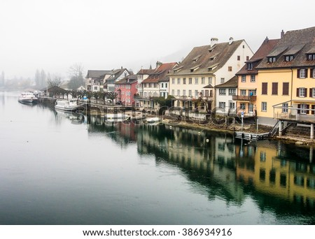 SCHAFFHAUSEN -DEC 31: The town of Stein am Rhein on Dec 31st, 2015 in Schaffhausen, Switzerland. The medieval part of this town has many of the buildings painted with beautiful frescoes. - stock photo