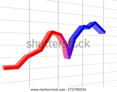 schedule from recession to growth from red to the blue - stock photo