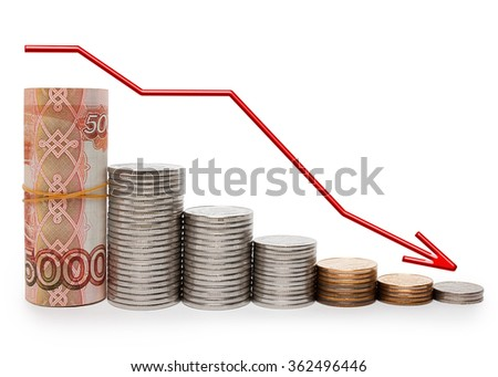 Schedule of decline of the ruble in banknotes and coins