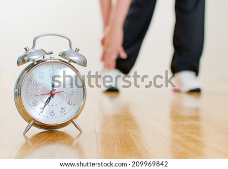 Schedule of the day. Woman doing sports. - stock photo