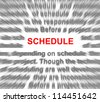 Schedule radial blur with focus on the word schedule. - stock photo