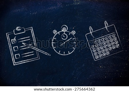 Scheduling and organizing your tasks and business: stopwatch, to do list and calendar - stock photo