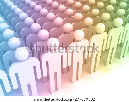 Schematic colorful abstract people standing in an array. Crowd concept digital 3d illustration - stock photo