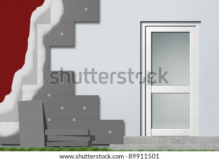 schematic construction of facade insulation - stock photo