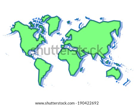 Schematic World Map Green Isolated On Stock Illustration 190422692 ...