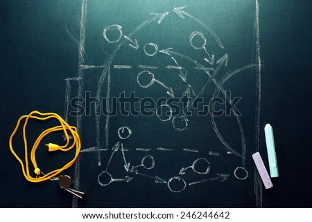 Scheme basketball game on blackboard background - stock photo