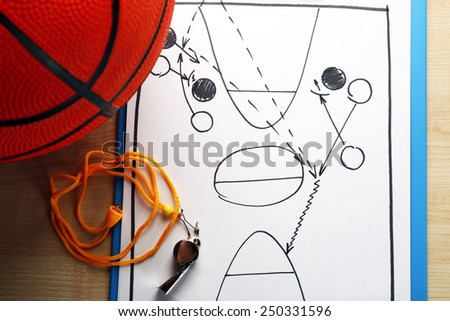 Scheme basketball game on sheet of paper with basketball on wooden table background - stock photo