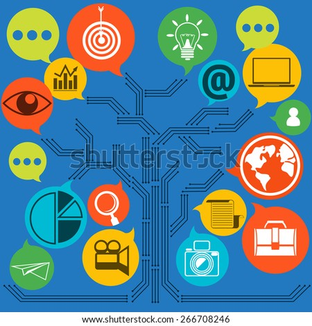 Scheme of web contact and business newsletter email envelope and symbols of chart global dollar eye. Regularly distributed news publication e-mail some topics of interest subscribers. Raster version - stock photo