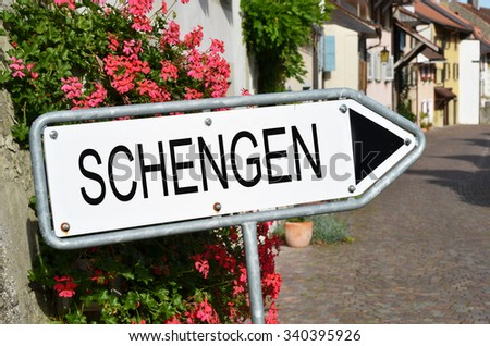 SCHENGEN sign on the street