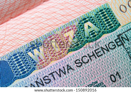 Schengen Visa - stock photo