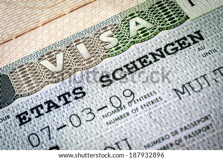 "Schengen visa. Focus on ""visa"" word - stock photo"