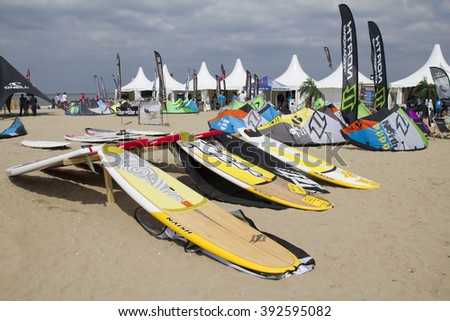 SCHEVENINGEN, HOLLAND - MAY 20: Kite surf camp with surfboards on the beach at the World Cup Kite Surfing in Scheveningen, Holland on May 20, 2012.