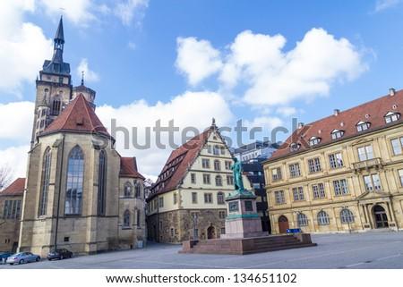 Schillers square, Stuttgart, Germany - stock photo