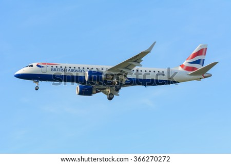 Schiphol, Noord-Holland/Netherlands - January 18-01-2016 - Airplane British Airways G-LCYP Embraer ERJ-190	British Airways CityFlyer is landing at Schiphol airport. The plane is flying to the runway. - stock photo