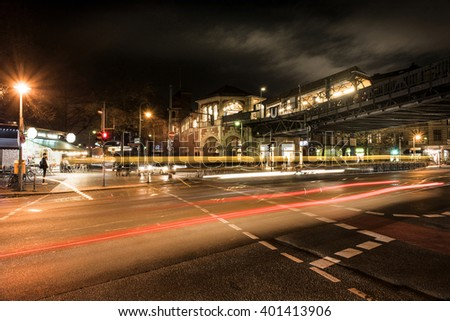 Schlesisches Tor, Berlin, Germany -  November 11, 2015: Busy crossroad at night with car lights in the capital of Germany