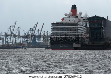 Schleswig Holstein, Germany, May 09, 2015: Cruise Terminal in the Port of Hamburg in Hamburg Harbour Birthday on May 9th, 2015 - stock photo