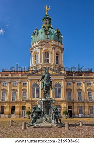 Schloss Charlottenburg (Charlottenburg Palace) in Berlin. It is the largest palace and the only surviving royal residence in the city. - stock photo
