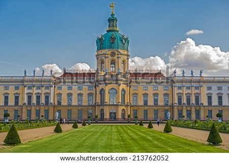 Schloss Charlottenburg (Charlottenburg Palace) with garden in Berlin. It is the largest palace and the only surviving royal residence in the city. - stock photo
