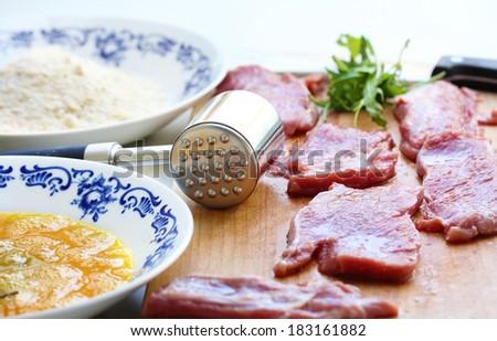schnitzel preparation - stock photo