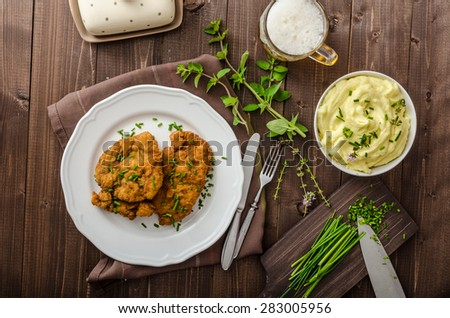 Schnitzel with herbs, mashed potatoes and chives - stock photo