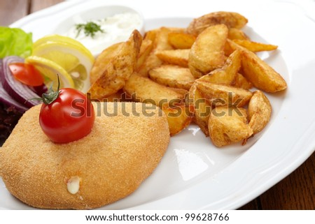 schnitzel with roasted potatoes