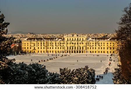 Schoenbrunn palace in sunny ,winter day.Vienna,Austria. - stock photo