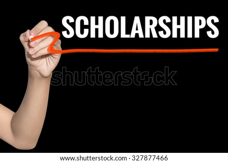 Scholarships word write on black background by woman hand holding highlighter pen - stock photo