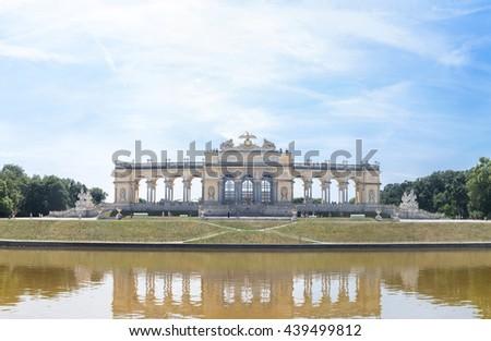 Schonbrunn Palace Garden Gloriette in Vienna Austria - stock photo