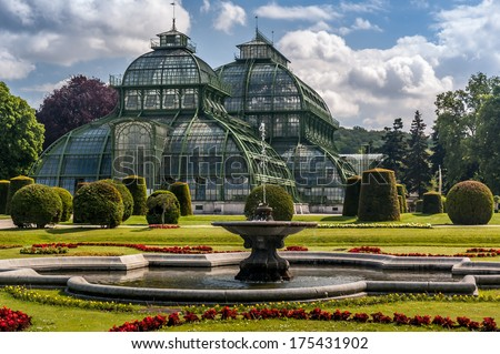 Schonbrunn Palace Palm Pavilion (old green house) on the grounds of the palace. - stock photo