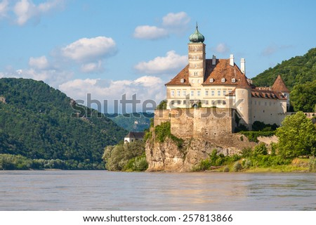 Schonbuhel Castle on the Danube river in Austria - stock photo