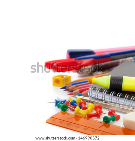 school accesories isolated over white