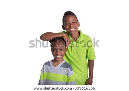 School aged brother together isolated