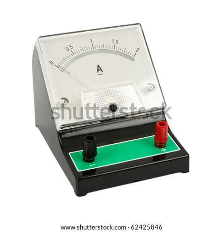 School ampermeter isolated on white background - stock photo